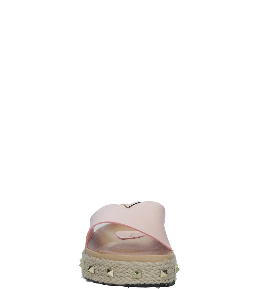 Różowe klapki espadryle z ćwiekami Casu LS50 style Dżety/Nity/Ćwieki