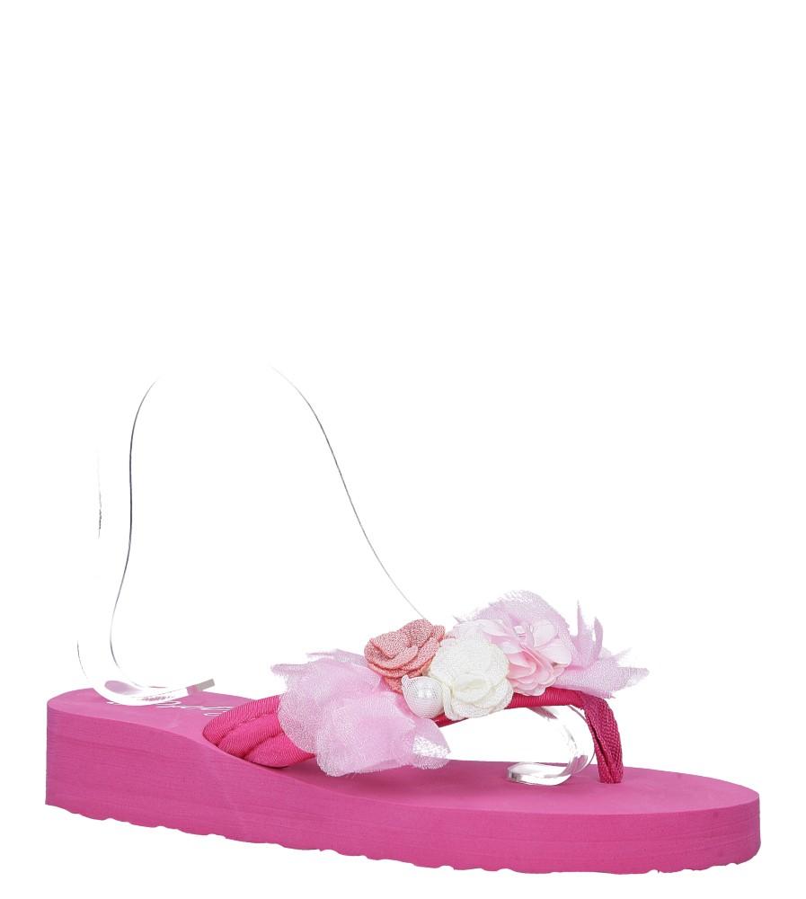 Różowe klapki japonki na koturnie z kwiatkami Casu 198-20