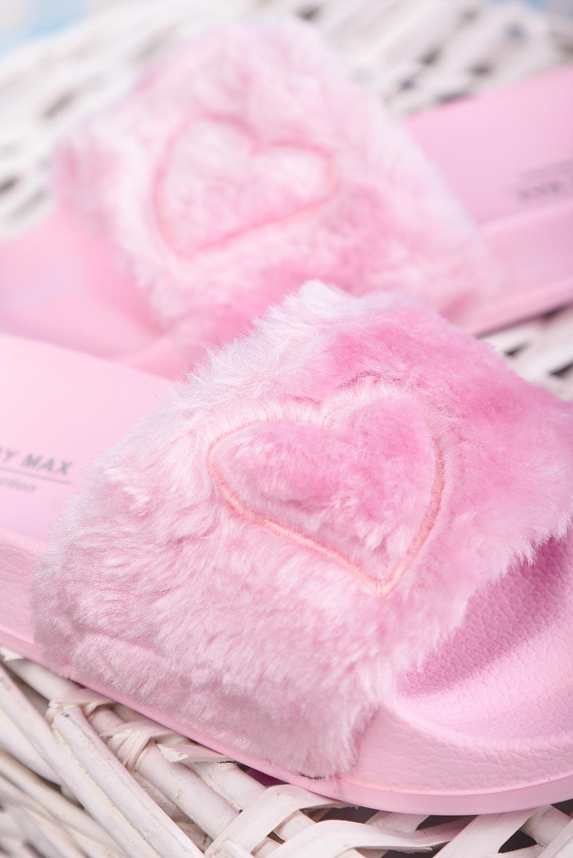 Różowe klapki z futerkiem Casu C7794 różowy