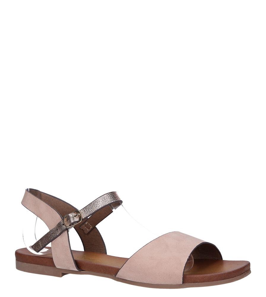 Różowe lekkie sandały płaskie z błyszczącym paskiem Casu K19X11/P