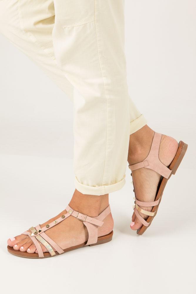 Różowe płaskie i lekkie sandały z dżetami Casu K18X3/P