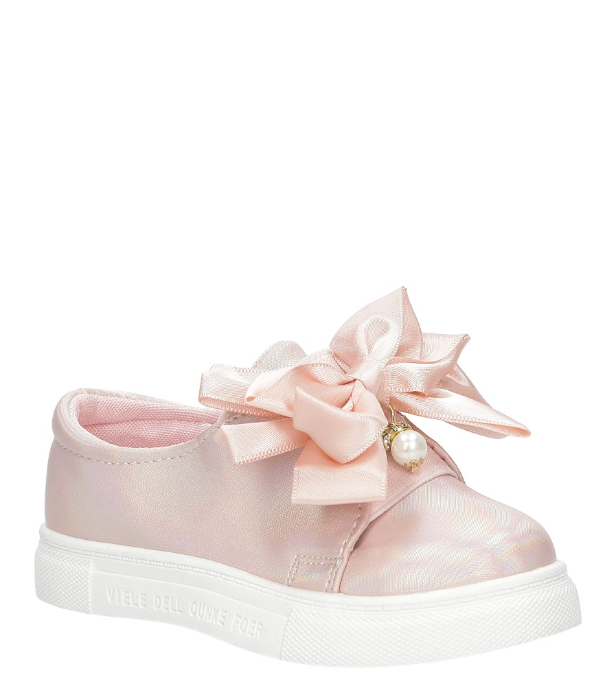 Różowe półbuty slip on z kokardą i perełkami błyszczące Casu 8928B jasny różowy