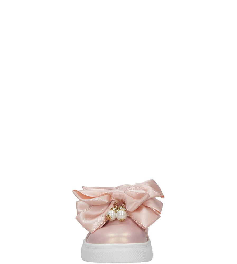 Różowe półbuty z kokardą i perełkami Casu 8909A sezon Wczesna wiosna