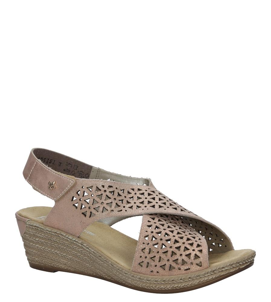 Różowe sandały ażurowe na koturnie Rieker 62484-31