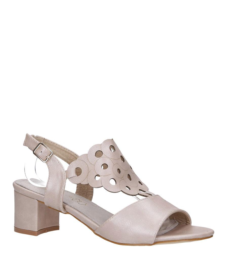 Różowe sandały ażurowe na niskim obcasie ze skórzaną wkładką Casu K19X3/P