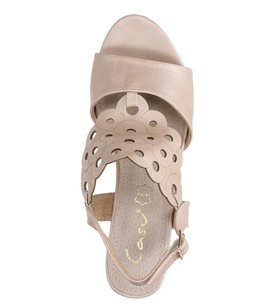 Różowe sandały ażurowe na niskim obcasie ze skórzaną wkładką Casu K19X3/P wys_calkowita_buta 14 cm