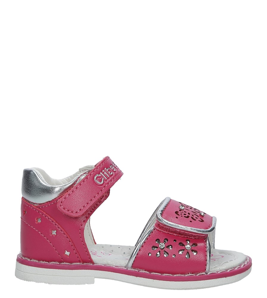 Różowe sandały ażurowe z kryształkami na rzep Casu F-212