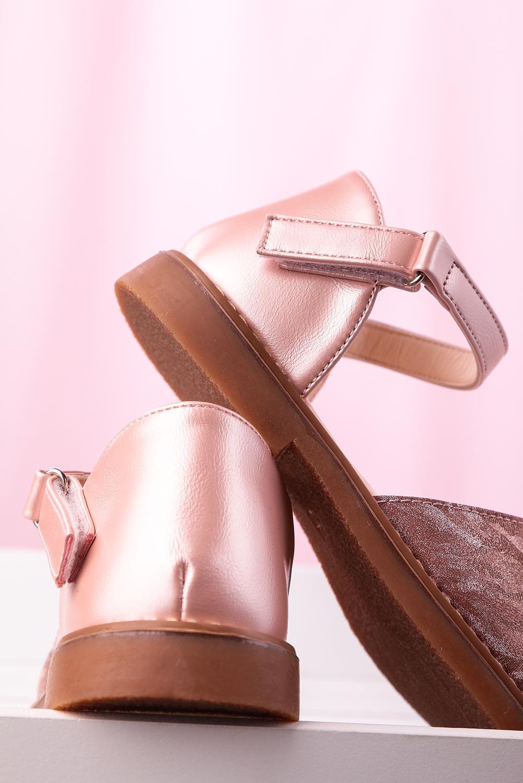 Różowe sandały błyszczące na rzep z zakrytą piętą Casu YJ222C różowy