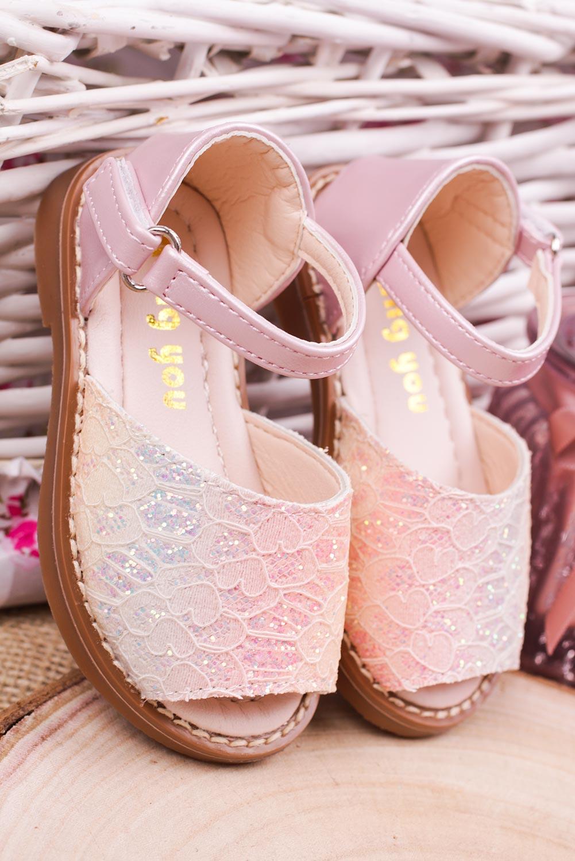 Różowe sandały brokatowe na rzep z zakrytą piętą Casu 1051-1 producent Casu