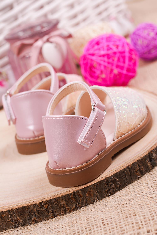 Różowe sandały brokatowe na rzep z zakrytą piętą Casu 1051-1