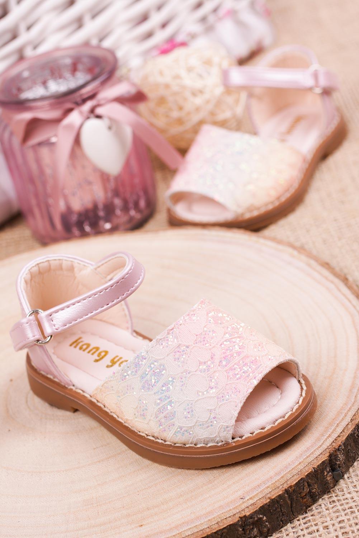 Różowe sandały brokatowe na rzep z zakrytą piętą Casu 1051-1 sezon Lato