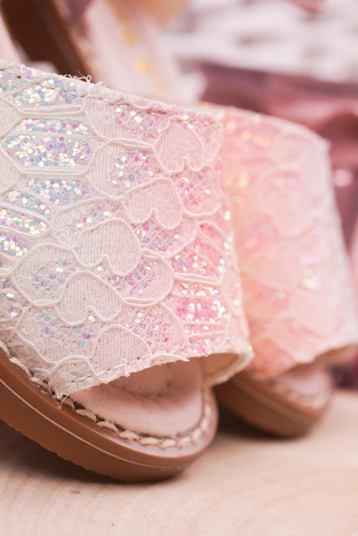 Różowe sandały brokatowe na rzep z zakrytą piętą Casu 1051-1 wysokosc_obcasa 1.5 cm
