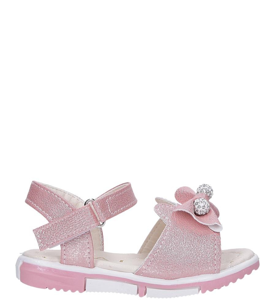 Różowe sandały brokatowe z kokardką na rzep Casu 1892A