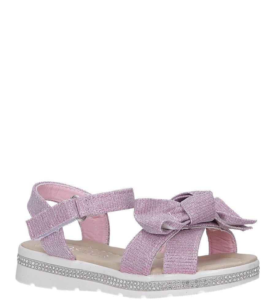 Różowe sandały brokatowe z kokardką na rzep Casu Y216