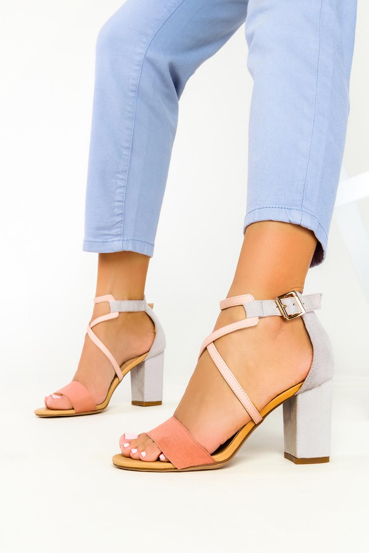 Różowe sandały Casu na szerokim słupku z zakrytą piętą ER21X14/P kolor różowy, szary