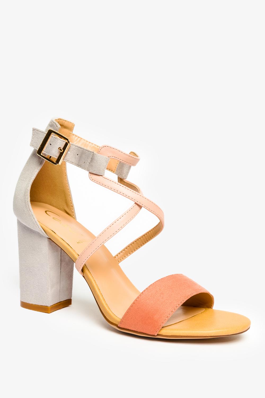 Różowe sandały Casu na szerokim słupku z zakrytą piętą ER21X14/P wysokosc_platformy 0.5 cm