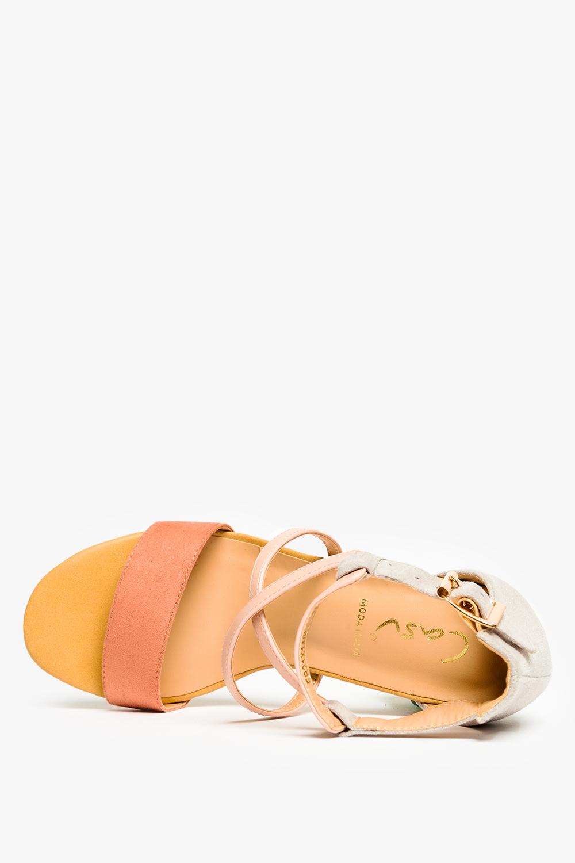 Różowe sandały Casu na szerokim słupku z zakrytą piętą ER21X14/P wys_calkowita_buta 18 cm