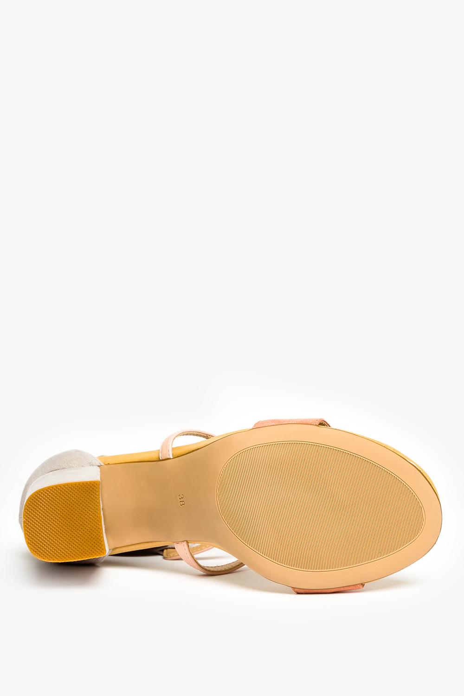 Różowe sandały Casu na szerokim słupku z zakrytą piętą ER21X14/P wierzch zamsz ekologiczny