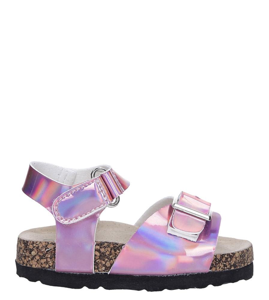 Różowe sandały holograficzne na rzep ze skórzaną wkładką i profilowaną korkową podeszwą Casu B19KDX2/P