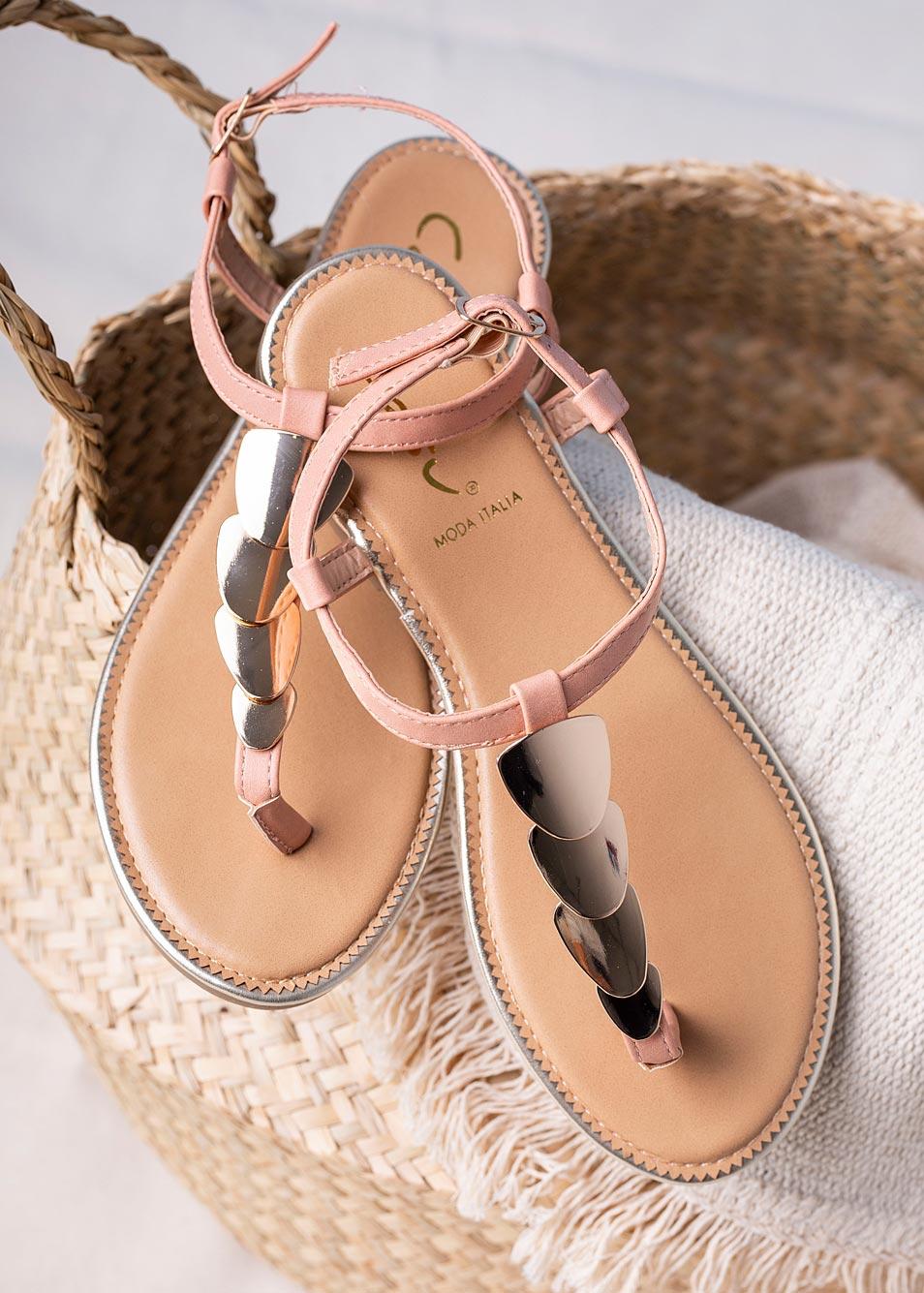 Różowe sandały japonki płaskie z metalową ozdobą Casu SN20X3/P różowy