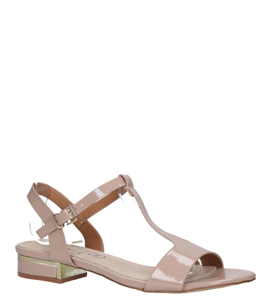 Różowe sandały lakierowane nude na niskim ozdobnym obcasie skórzana wkładka Casu R19X5/N model R19X5/N