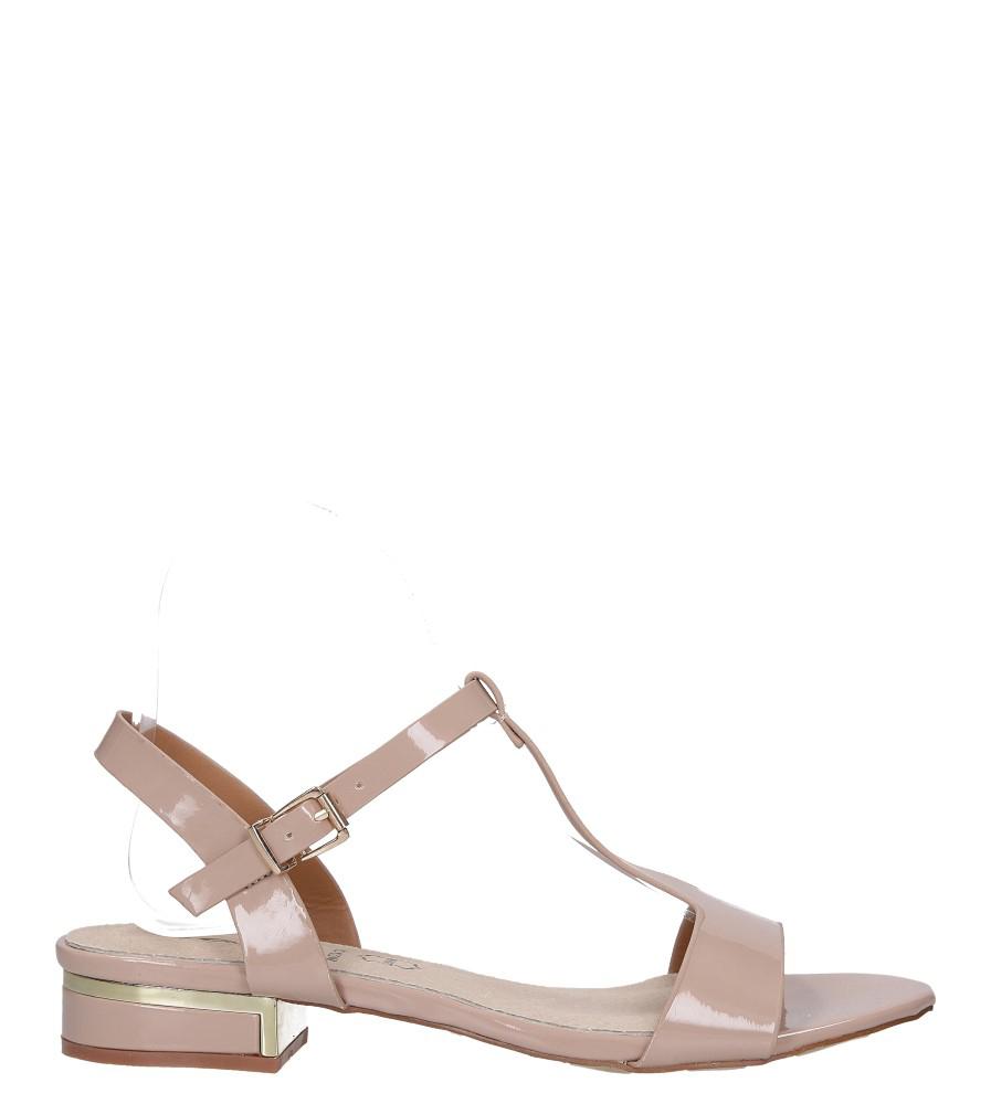 Różowe sandały lakierowane nude na niskim ozdobnym obcasie skórzana wkładka Casu R19X5/N wysokosc_platformy 1 cm