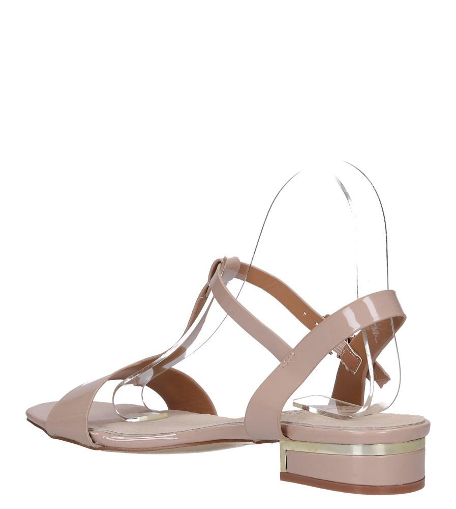 Różowe sandały lakierowane nude na niskim ozdobnym obcasie skórzana wkładka Casu R19X5/N wys_calkowita_buta 11 cm