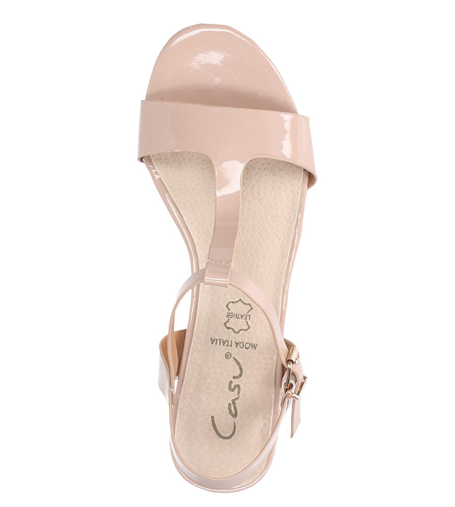 Różowe sandały lakierowane nude na niskim ozdobnym obcasie skórzana wkładka Casu R19X5/N wierzch skóra ekologiczna- lakier
