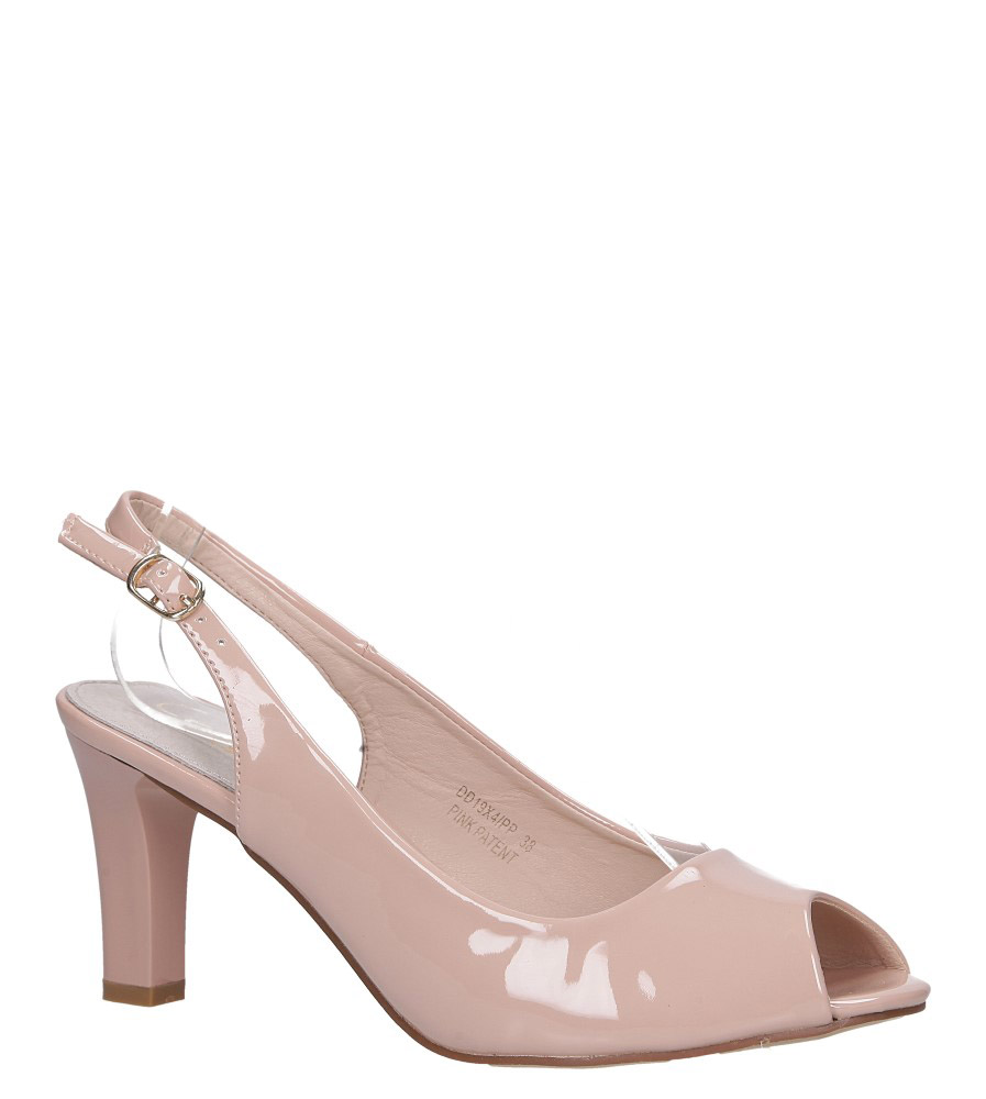 Różowe sandały lakierowane ze skórzaną wkładką na słupku Casu DD19X4/PP
