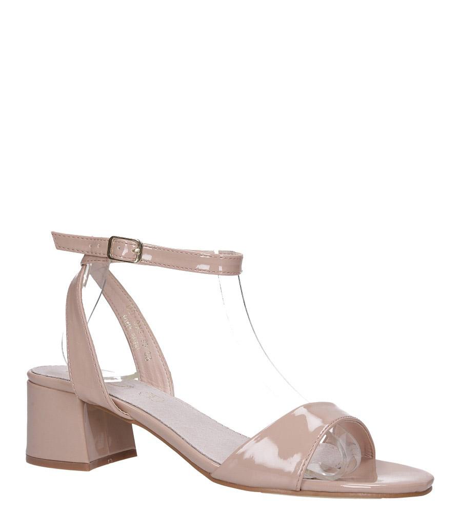 Różowe sandały lakierowane ze skórzaną wkładką na szerokim niskim obcasie z paskiem wokół kostki Casu DD19X2/PP