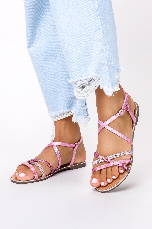 Różowe sandały metaliczne płaskie z nitami Casu S19X5/P producent Casu