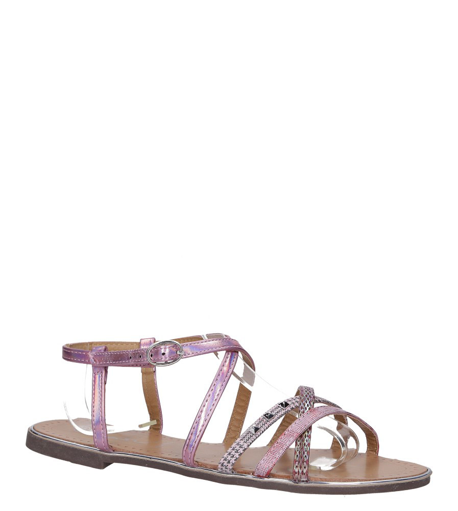Różowe sandały metaliczne płaskie z nitami Casu S19X5/P model S19X5/P