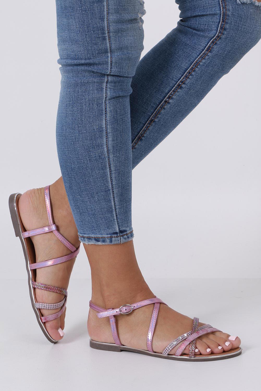 Różowe sandały metaliczne płaskie z nitami Casu S19X5/P sezon Lato