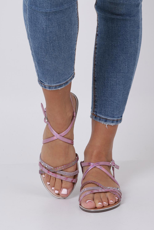 Różowe sandały metaliczne płaskie z nitami Casu S19X5/P wysokosc_obcasa 1 cm
