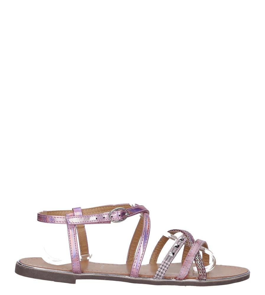 Różowe sandały metaliczne płaskie z nitami Casu S19X5/P wysokosc_platformy 0.5 cm