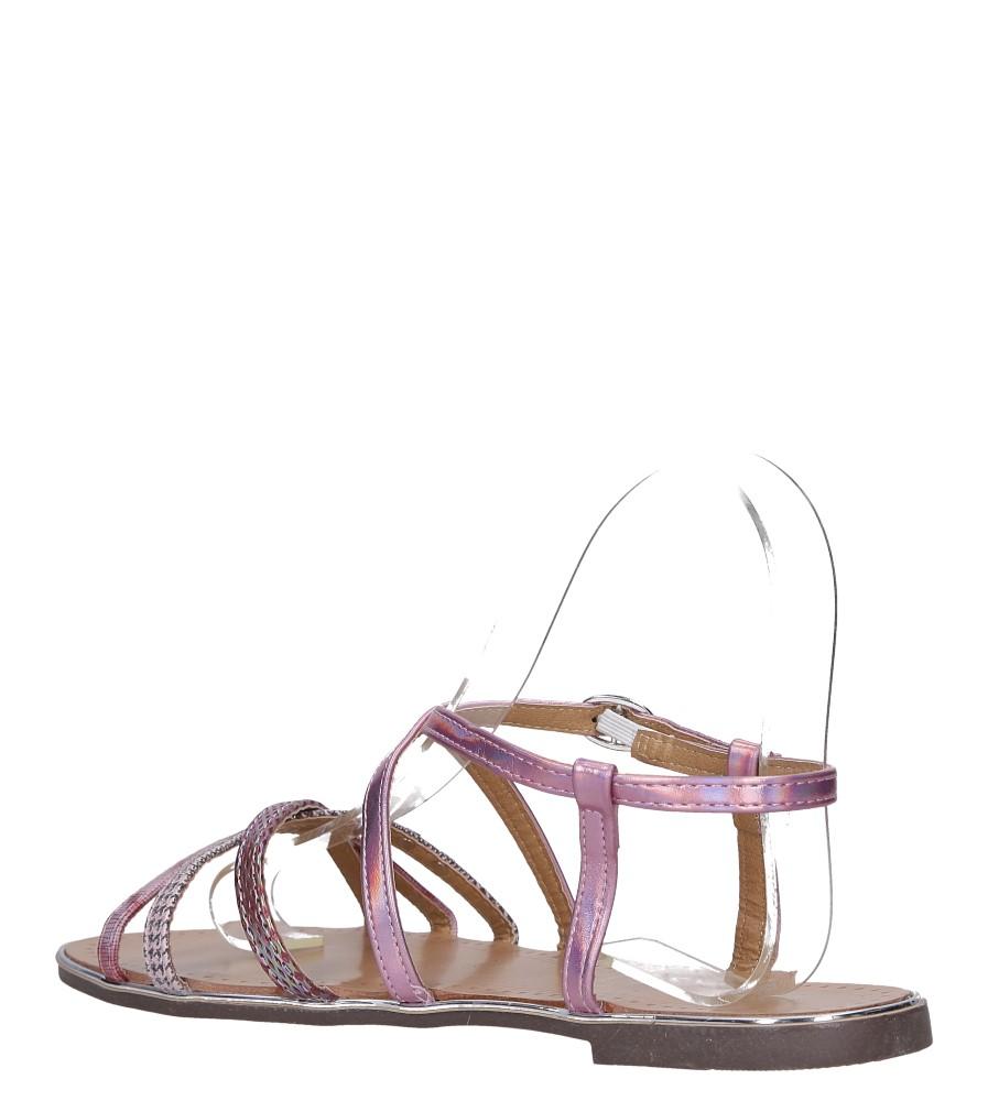 Różowe sandały metaliczne płaskie z nitami Casu S19X5/P wys_calkowita_buta 7 cm