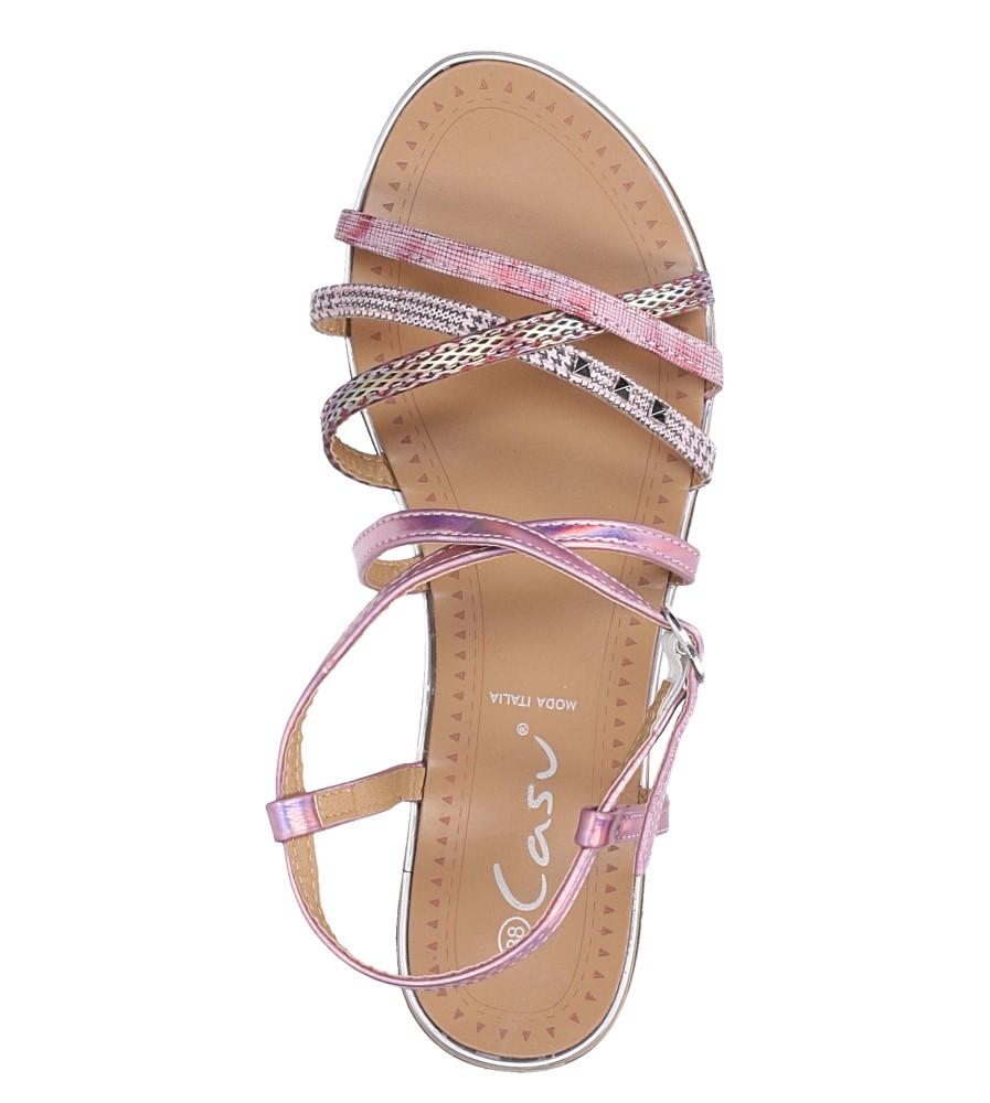 Różowe sandały metaliczne płaskie z nitami Casu S19X5/P wierzch skóra ekologiczna