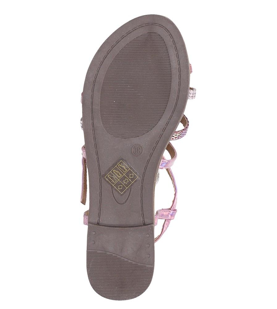 Różowe sandały metaliczne płaskie z nitami Casu S19X5/P wnetrze skóra ekologiczna