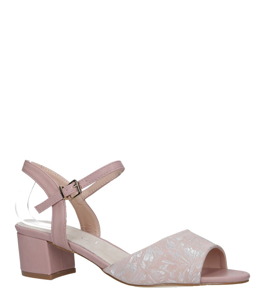 Różowe sandały na obcasie niskim ze skórzaną wkładką błyszczący wzorek Casu RT19X3/P
