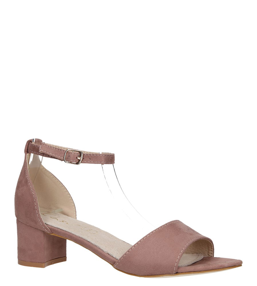 Różowe sandały na obcasie niskim ze skórzaną wkładką z zakrytą piętą pasek wokół kostki Casu K19X1/P