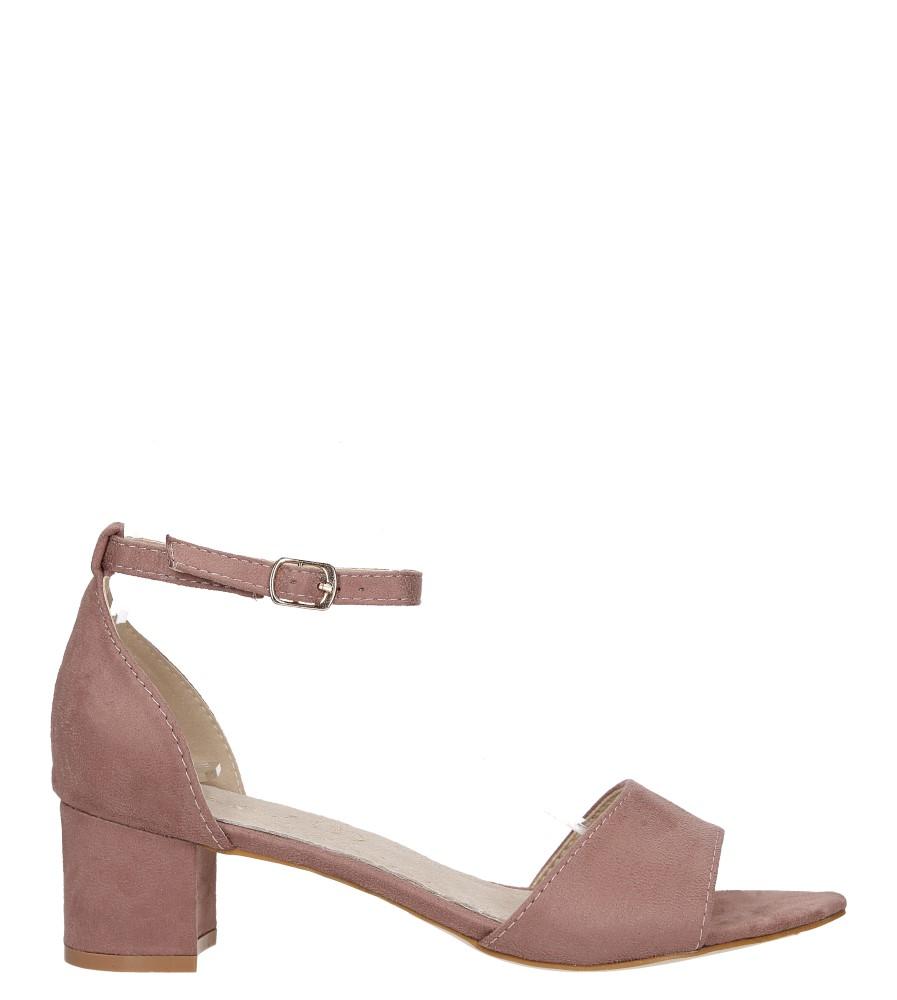Różowe sandały na niskim obcasie ze skórzaną wkładką z zakrytą piętą pasek wokół kostki Casu K19X1/P wysokosc_platformy 0.5 cm