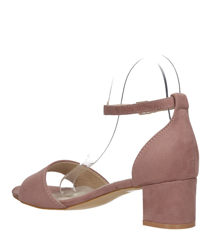 Różowe sandały na niskim obcasie ze skórzaną wkładką z zakrytą piętą pasek wokół kostki Casu K19X1/P wys_calkowita_buta 14 cm
