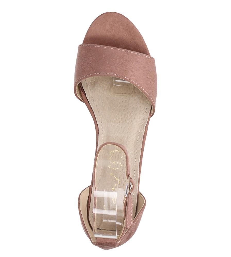 Różowe sandały na niskim obcasie ze skórzaną wkładką z zakrytą piętą pasek wokół kostki Casu K19X1/P wierzch zamsz ekologiczny