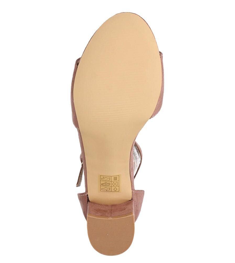 Różowe sandały na niskim obcasie ze skórzaną wkładką z zakrytą piętą pasek wokół kostki Casu K19X1/P wnetrze skóra ekologiczna