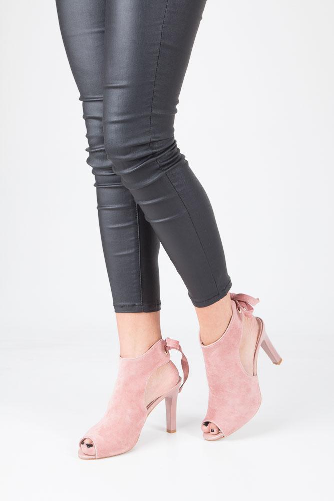 Różowe sandały na obcasie z kokardą Sergio Leone 1493 model 1493