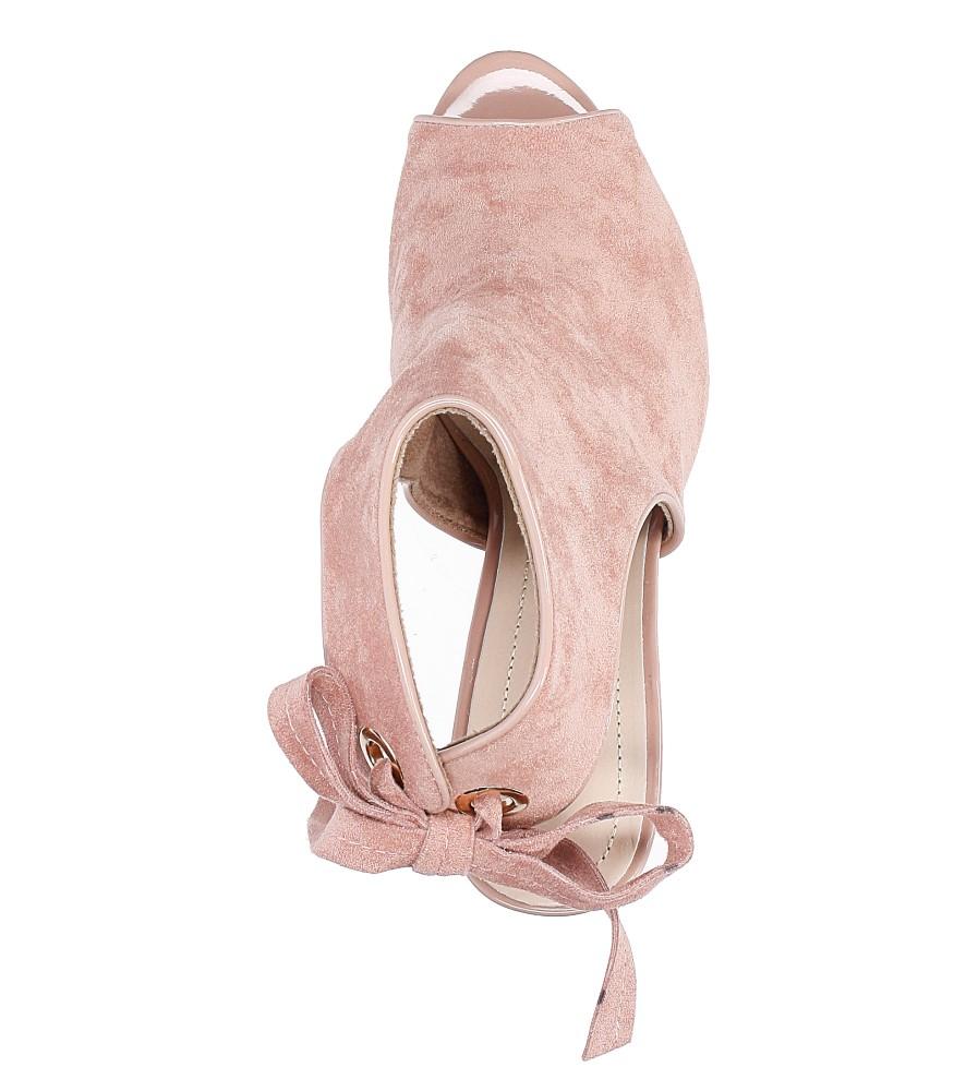 Różowe sandały na obcasie z kokardą Sergio Leone 1493 wysokosc_platformy 0.5 cm