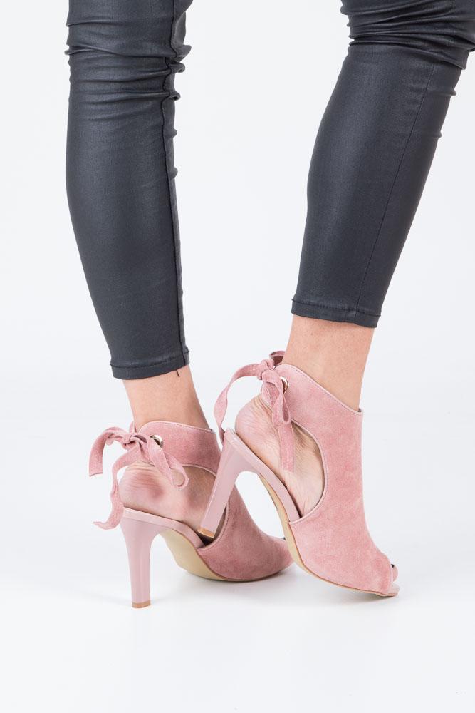 Różowe sandały na obcasie z kokardą Sergio Leone 1493 wierzch skóra ekologiczna - zamsz