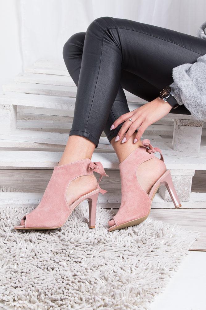 Różowe sandały na obcasie z kokardą Sergio Leone 1493 wkladka skóra