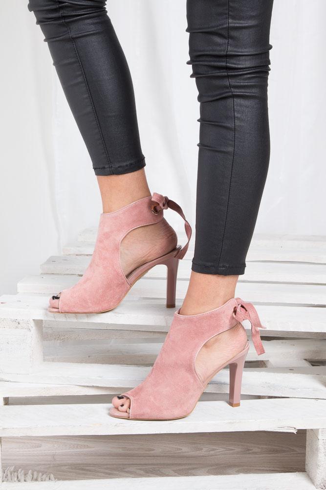 Różowe sandały na obcasie z kokardą Sergio Leone 1493 material_obcasa wysokogatunkowe tworzywo