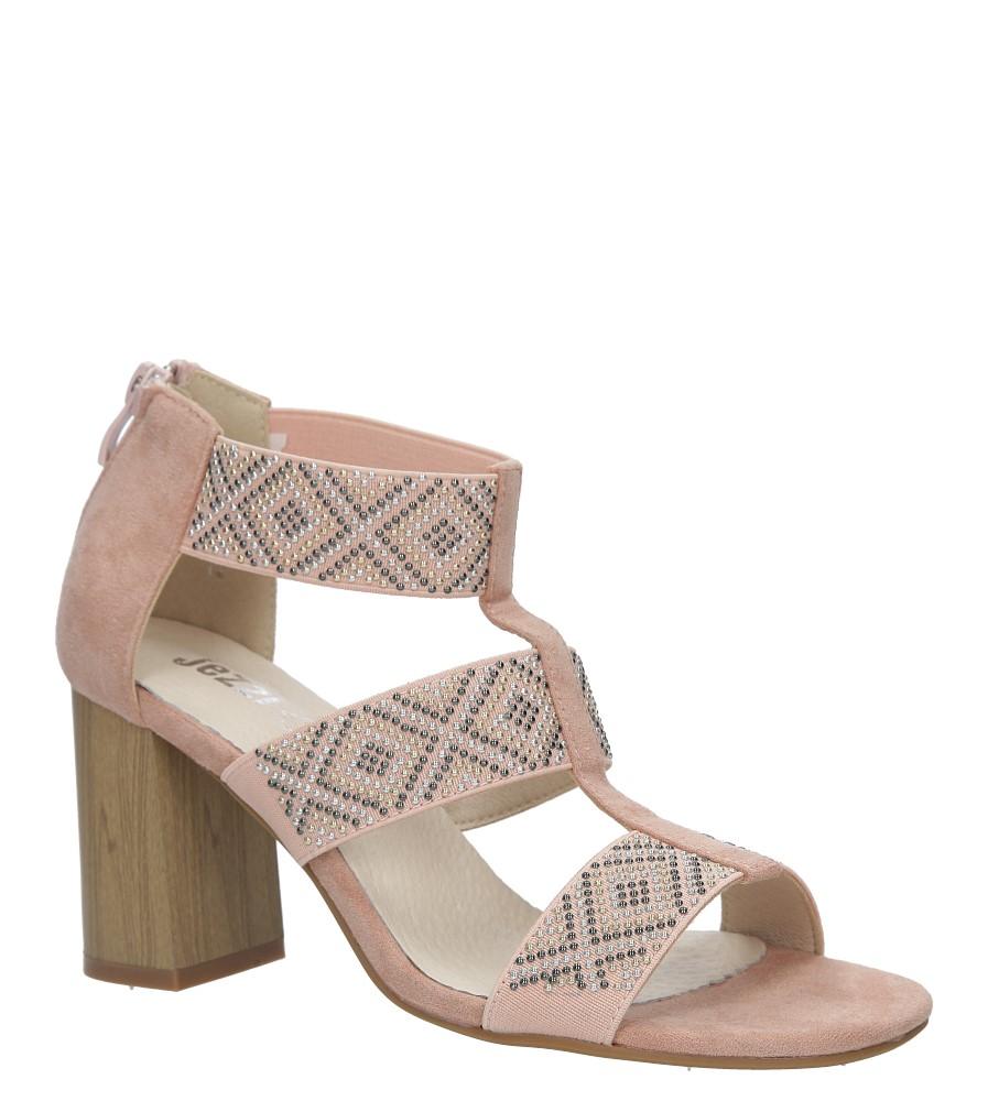 Różowe sandały na obcasie z ozdobnymi nitami Jezzi SA123-3 producent Jezzi